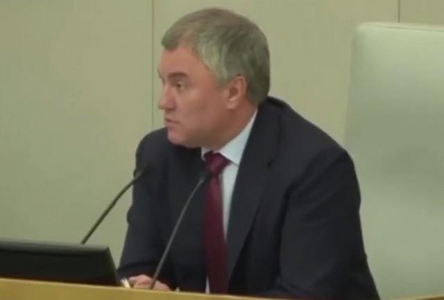 Вячеслав Володин в Государственной думе в черном пиджаке