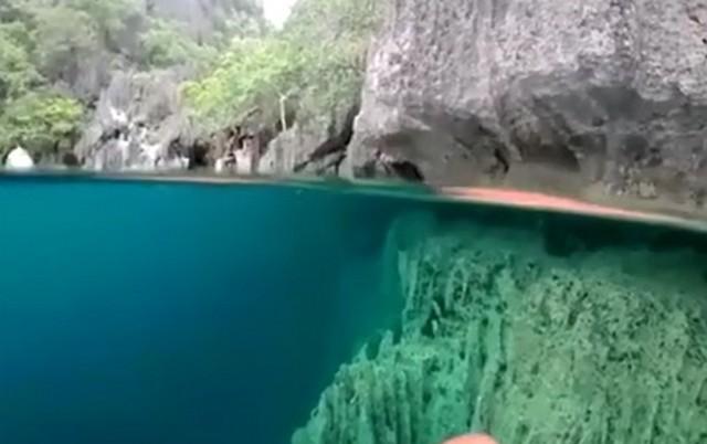 Вид с воды на скалы