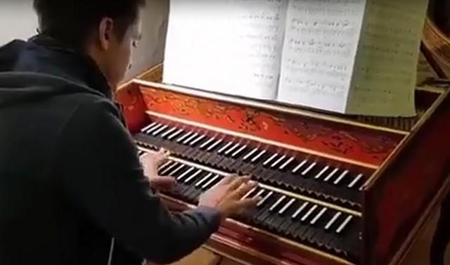 Мужчина играет на клавесине