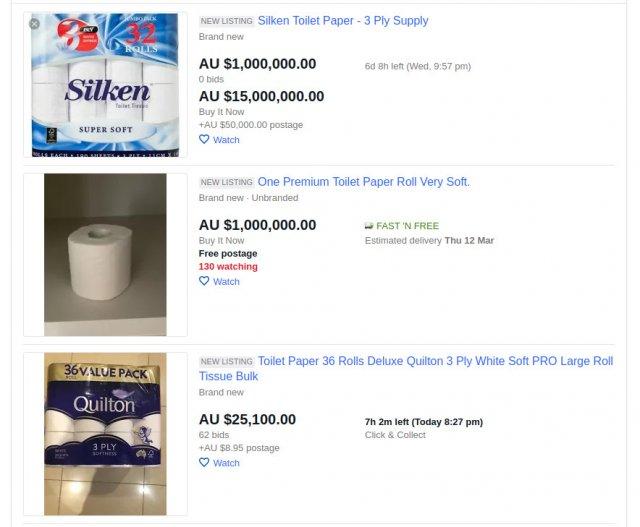 Цены на туалетную бумагу