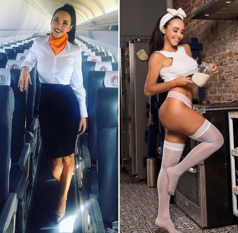 Стюардессы в униформе и без нее (25 фото)