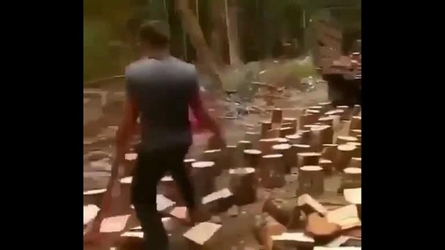 Рубит дрова