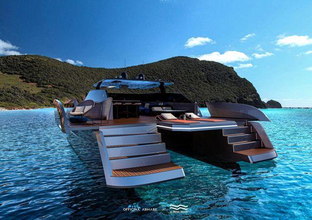 Зона для солнечных ван на яхте вид снизу