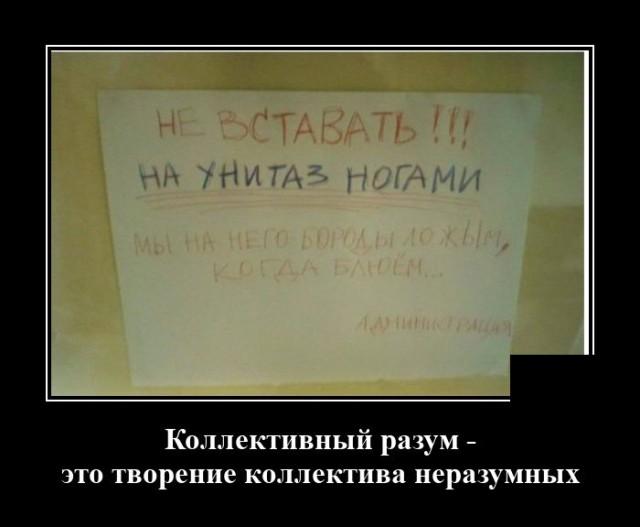 Демотиватор про объявление в туалете