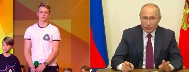 Школьник и Владимир Путин
