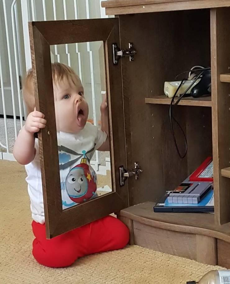 Ребенок лижет стекло