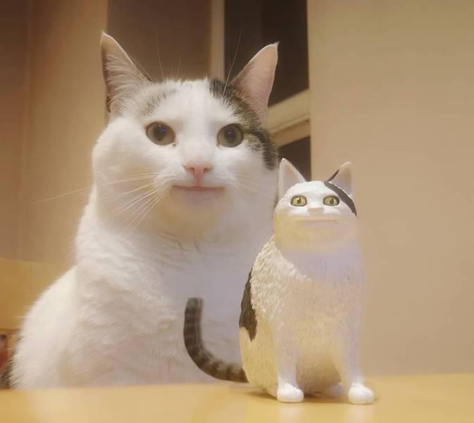 Улыбающийся кот и статуэтка