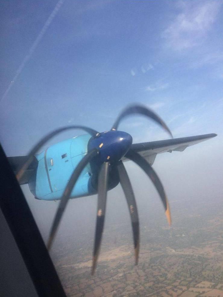 Съемка пропеллера самолета на смартфон