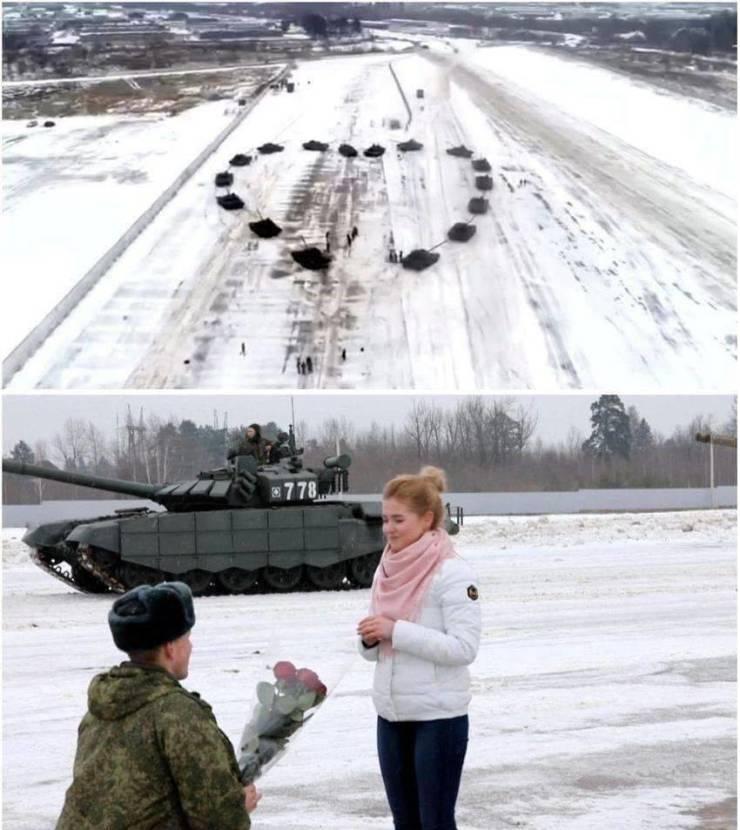 Предложение руки и сердца с танками