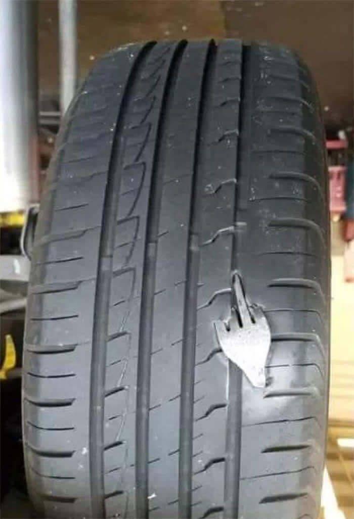 Вилка пробила колесо