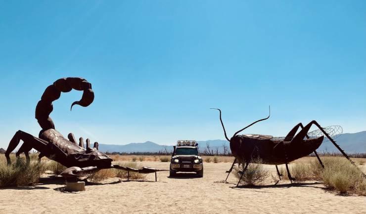 Скульптуры кузнечик и скорпион