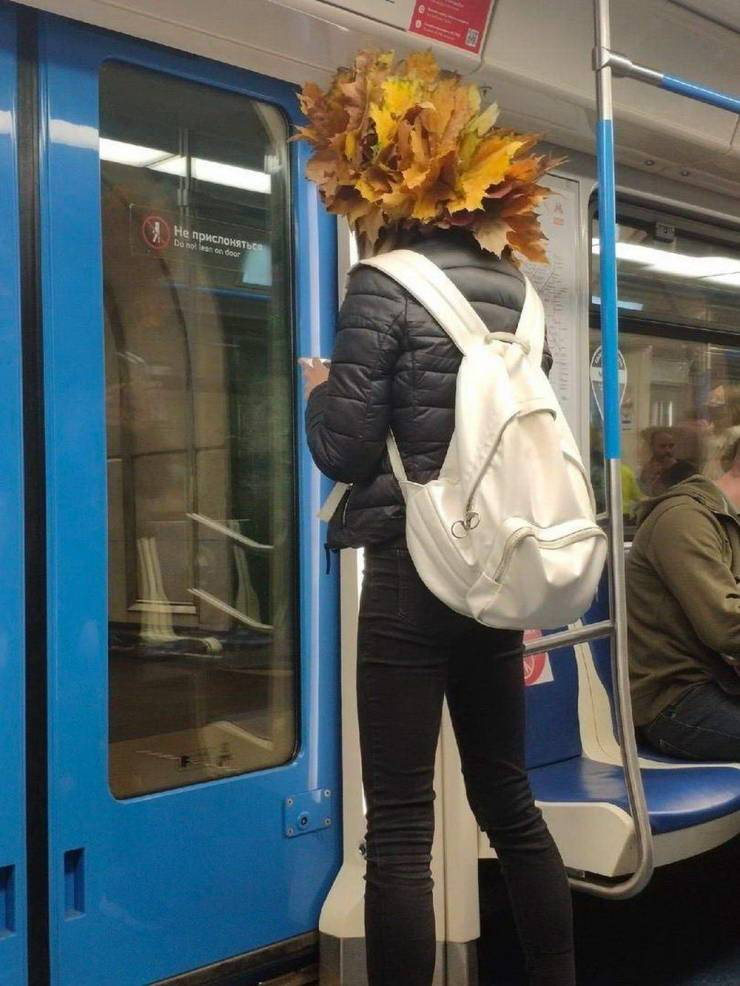 Странная шапка из листьев