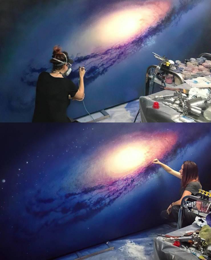 Рисунок галактика на стене