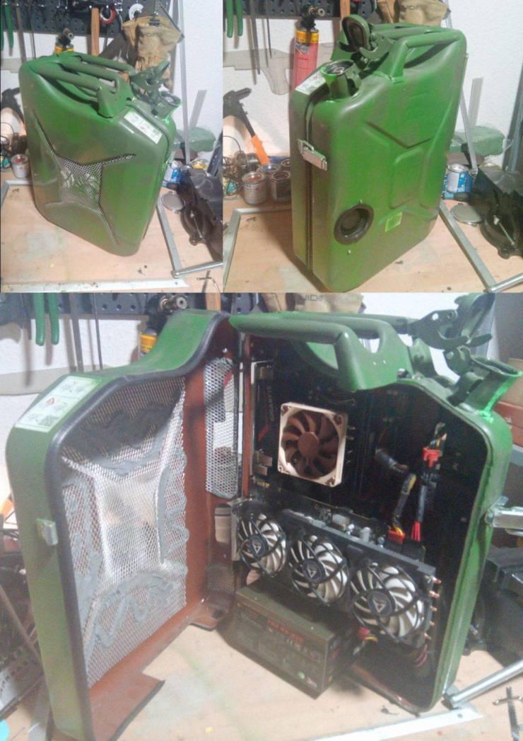 Компьютер в канистре для бензина