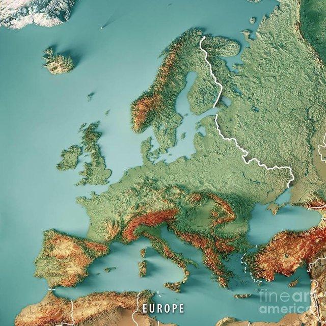 3D-карта рельефа Европы