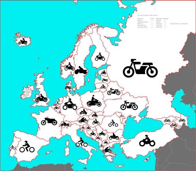 Как выглядит мотоциклист на дорожных знаках в странах Европы