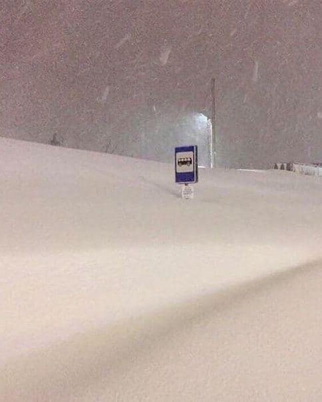 Автобусная остановка в снегу