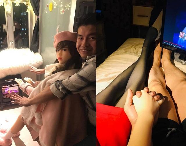 Се Тяньронг держится за руки с куклой
