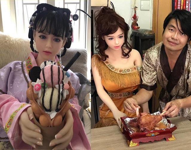 Се Тяньронг обедает с куклой