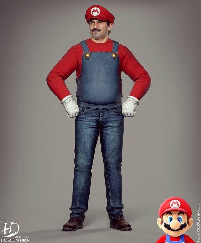 Супер Марио стоит в полный рост