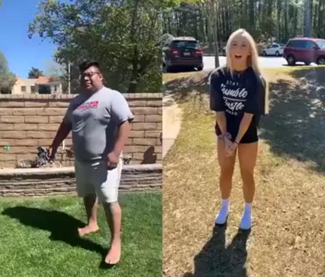 Парень и девушка делают сальто