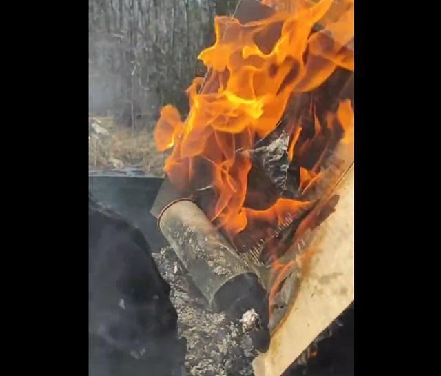 баллон с газом в огне