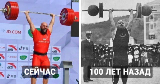 Как выглядели профессиональные спортсмены столетие назад и сегодня