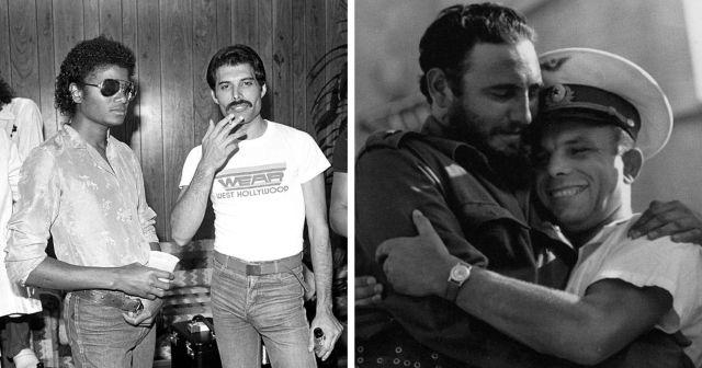 Подборка интересных ретрофотографий, на которых запечатлены встречи известных людей